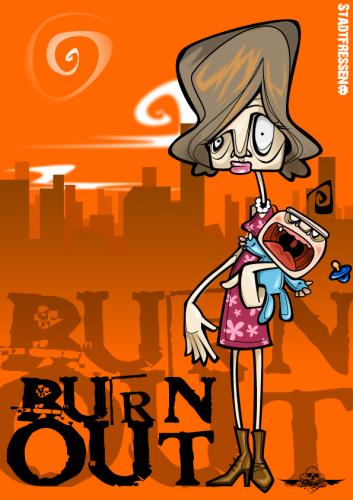 Cartoon: burn out mom (medium) by bkopf tagged bkopf,burn,out,stadtfressen