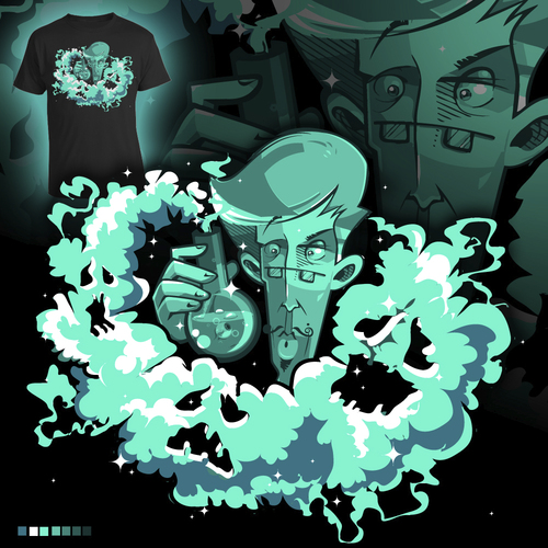 Cartoon: magical smoke (medium) by bkopf tagged bkopf,tshirt,dr,prof,magic,smoke