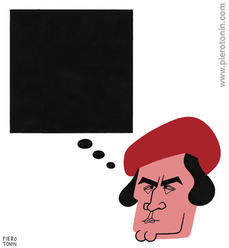 Cartoon: Kazimir Malevich (medium) by Piero Tonin tagged suprematist,suprematism,painters,artists,paintings,painting,art,russia,painter,artist,russian,2014,1914,anniversary,years,100,100th,quadrate,schwarzes,square,black,malevich,kazimir