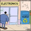 Cartoon: Recycling (small) by Piero Tonin tagged piero,tonin,recycling,recycle,technology,computer,computers,marketing,business,digital,consumerism,mass,consumption