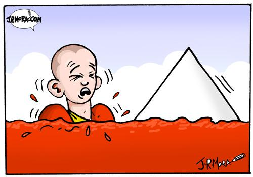 Cartoon: China vs Tibet (medium) by jrmora tagged tibet,china,