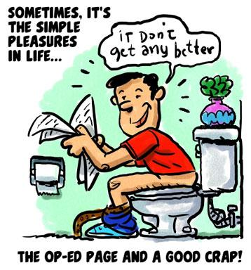Cartoon: simple pleasures (medium) by monsterzero tagged toilet,newspaper,happy,