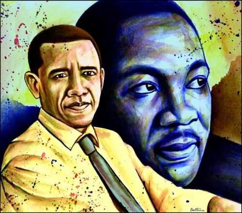 Cartoon: Barack Obama-Martin Luther King (medium) by BenHeine tagged barackobama,obama,unitedstates,usa,us,president,candidate,black,martinlutherking,luther,king,ihaveadream,dream,change,revolution,portrait,noir,africa,afp,johnrailey,victim,myth,legend,icon,death,tribute,blackpower,peace,race,love,legacy,africain,ben