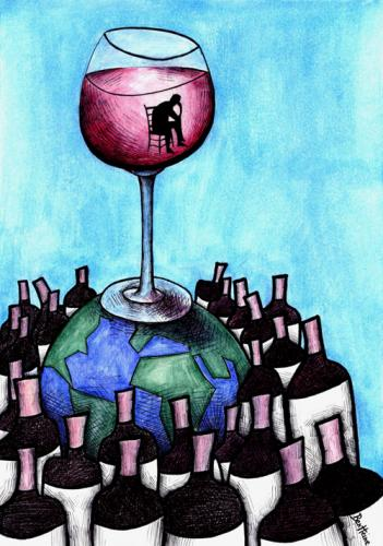 Cartoon: Lost Alcohol (medium) by BenHeine tagged poem,alcoholism,wine,assuetude,dependance,world,lost,blood,man,sit,bottles,red,high,tipsy,happiness,glass,verre,transparent,atmosphere,perdu,spirit,earth,terre,gather,rassembler,group,continents,anonym,alone,ben,heine,