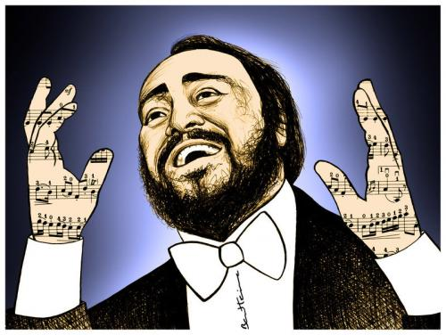 Cartoon: Luciano Pavarotti (medium) by BenHeine tagged lucianopavarotti,worldofopera,concert,cook,italia,happiness,talent,laboheme,voice,modena,musicnotes,opera,orchestra,richarddyer,royaloperahouse,singer,solo,song,tenor,transcend,vocalcord,benheine,
