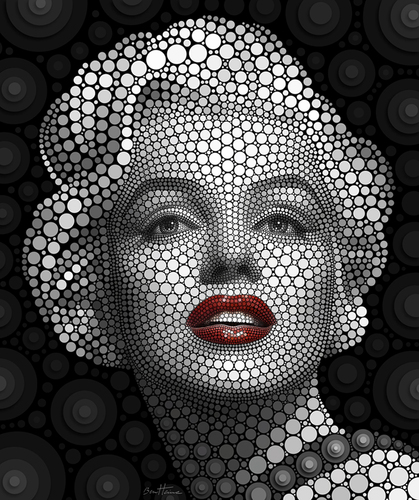 Cartoon: Marilyn Monroe (medium) by BenHeine tagged marilyn,monroe,marilynmonroe,ben,heine,benheine,digital,circlism,digitalcirclism,art,theartistery,portrait,sensuality,sensual,actress,singer,actrice,chanteuse,passion,cercles,circles,eyes,yeux,expressive,glamor,glamour,norma,jeane,mortenson,baker,model,wo