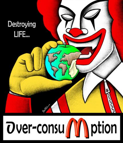 Cartoon: Over-Consumption... (medium) by BenHeine tagged fastfood,overconsumption,apple,poem,world,planet,destroy,life,eat,consumerism,mcdonald,ronaldmcdonald,bigmac,fries,hamburger,fat,manger,junkfood,earth,consommation,gras,money,health,sante,risk,shove,pig,bite,pomme,hold,geld,benheine,