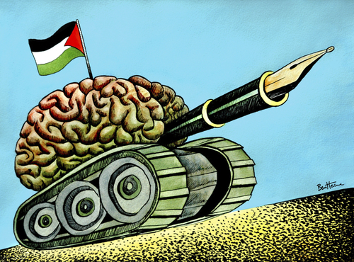 Cartoon: Palestine Think Tank (medium) by BenHeine tagged struggle,territory,land,occupation,flag,drapeau,expression,stylo,bic,pen,cerveau,brain,zionism,conquer,liberte,sabbah,haitham,atzmon,gilad,website,new,desertpeace,east,middle,mind,battle,speech,of,freedom,heine,ben,tank,think,palestine