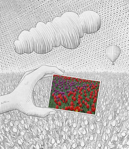 Cartoon: Pencil Vs Camera - 26 (medium) by BenHeine tagged pencil,vs,camera,creative,ben,heine,series,tulip,bulb,flower,fleur,bloom,orchid,field,champs,group,photo,in,drawing,sketch,croquis,simple,texture,sky,stylized,inverted,reverse,twist,infotheartisterycom,print,copyrights,art,cloudy,cloud