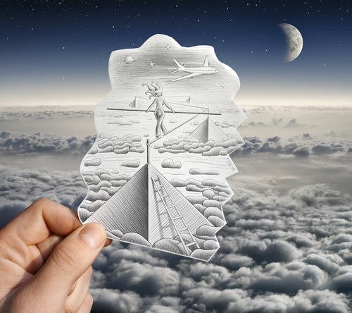 Cartoon: Pencil Vs Camera - 52 (medium) by BenHeine tagged samsung,imaging,imagery,dream,cloud,moon,lune,nuage,sky,air,plane,freedom,reve,pyramid,walk,adventure,trip,travel,discovery,girl,jeans,space,cosmos,liberte,droom,echelle,scale,distance,path,funambule,tightrope,walker,spirit,esprit,vision,perspective,woman,happiness,bonheur,hopes,espoir,drawing,photography,pencil,vs,camera,pencilvscamera,art,ben,heine,benheine,illusion,imagination,reality,hand,main,surrealism