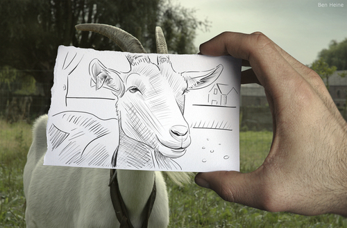Cartoon: Pencil Vs Camera - 5 (medium) by BenHeine tagged pencil,vs,camera,digital,traditional,photography,drawing,ben,heine,dessin,farme,ferme,green,vert,cheese,fromage,goat,nanny,countryside,campagne,mise,en,abime,abyme,abysme