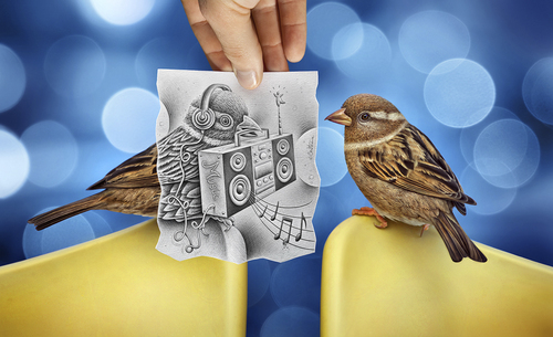 Cartoon: Pencil Vs Camera - 66 (medium) by BenHeine tagged surrealism,reality,imagination,photography,drawing,heine,ben,art,camera,vs,pencil,bokeh,chain,hifi,music,electronic,power,bird,illusion,series,creative,augmentedreality,benheine,pencilvscamera,sketch,augmented