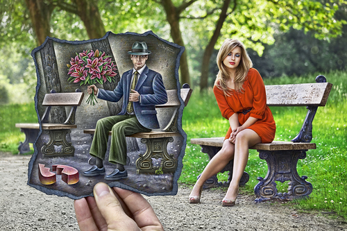 Cartoon: Pencil Vs Camera - 68 (medium) by BenHeine tagged bet,gentleman,bench,park,bouquet,bunch,flowers,romantism,romance,model,beauty,nature,illusion,series,creative,paper,augmentedreality,benheine,pencilvscamera,sketch,augmented,surrealism,reality,imagination,photography,drawing,heine,ben,art,camera,vs,pencil