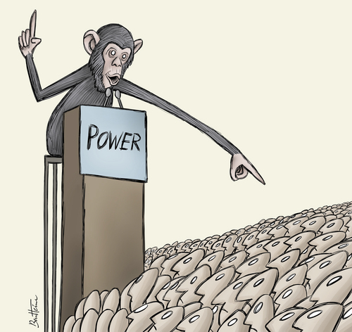 Cartoon: Powerful People (medium) by BenHeine tagged power,pouvoir,political,art,tribune,primates,monkey,crowd,foule,people,ape,joke,provocation,ben,heine,animals,humans,hierarchy,government,politics,leaders,chef,king,prime,minister,president,irony,illusion,shame,failure,ech