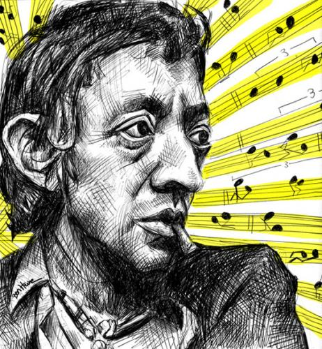 Cartoon: Serge Gainsbourg (medium) by BenHeine tagged serge,gainsbourg,france,chanteur,sea,and,sun,sing,famous,star,debauche,cigarette,drogue,amour,jane,birkin,musical,notes,music,exces,collier,necklace,addiction,song,love,romantic,drugs,sexe,yellow,sad,ben,heine,