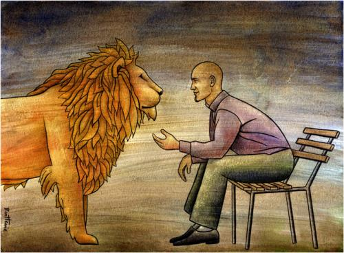 Cartoon: The Blessing of Communication (medium) by BenHeine tagged blessing,communication,smart,wow,lion,tame,dompter,apprivoiser,nature,communion,marcin,bondarowicz,friendship,animal,man,gaze,wondrous,wild,zoo,fierce,gratitude,submissive,ben,heine,keeper,john,newton,fur,sit,calm,peace,amis,fourure,elegance