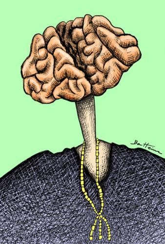 Cartoon: The Brain is the weight of God (medium) by BenHeine tagged brain,cross,hatching,pullover,think,cervella,necklace,volutes,pink,intelligence,clever,stupid,neck,caricature,self,man,path,way,profile,ben,heine,,the