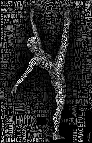 Cartoon: The Dancer (medium) by BenHeine tagged dancer,the,grace,woman,harmony,ben,heine,move,body,corps,calligraphy,typography,dance,femme,sport,art,theartistery