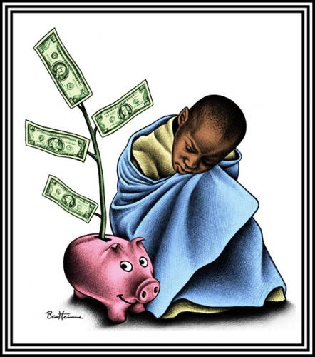 Cartoon: The Poorest of the Poor (medium) by BenHeine tagged humancondition,poverty,africa,dollars,sparepig,cochonepargne,poorestofthepoor,millennium,development,goals,pauvres,developpement,sud,globalsouth,pauvrete,argent,sad,economy,black,jama,mjfriedrich,jeffreysachs,benheine,,the