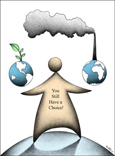 Cartoon: You have Got a Choice (medium) by BenHeine tagged earth,pollution,globalisation,hopes,future,globalization,environment,mothernature,nature,sustainableenergy,energy,plants,green,humanbeings,humans,climate,services,industry,fumes,consumption,carbon,ozone,hole,benheine,heine,goods,globe,millennium,goals,