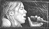 Cartoon: Lhasa de Sela - First Sketch (small) by BenHeine tagged lhasa de sela drawing sketch singer chanteur songwriter breast cancer woman talent mexico us canada france tribute voice micro sing chant song death immortal the living road con toda palabra la llorona rising small cara pared ben heine croquis