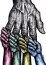 Cartoon: Solidarity (small) by BenHeine tagged solidarity,help,roots,colours,origins,hand,love,hatred,benetton,skin,peau,couleurs,colors,united,together,hold,tenir,amour,peace,world,ensemble,fingers,main,tomorrow,palm,blue,yellow,red,green,hopes,origin,roots,always,child,enfant,future,progeny,ofspring