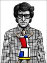 Cartoon: Yves Saint Laurent (small) by BenHeine tagged yves saint laurent ysl gucci dior pierre berge elegance designer fragrance perfume mode dress woman piet mondrian art couture cutting edge controversial gay homosexual genius robe fashion cancer creation libertarian anarchic jacket shirt clothes ben heine