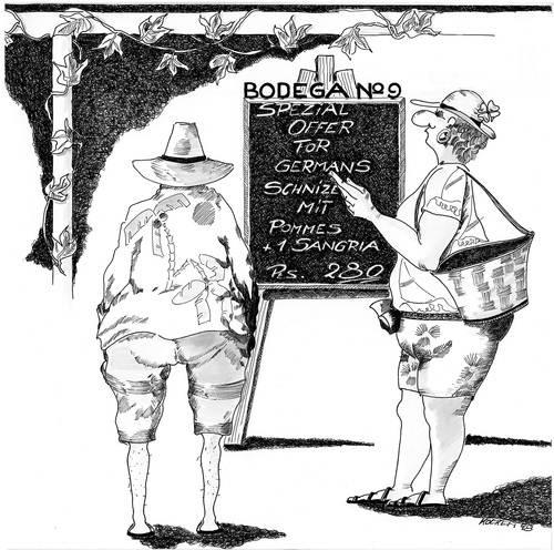 Cartoon: Bodega No. 9 (medium) by kocki tagged urlaub,sonne,meer,essen,deutsche,sprache