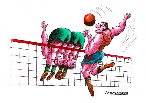 Funny volleyball cartoon