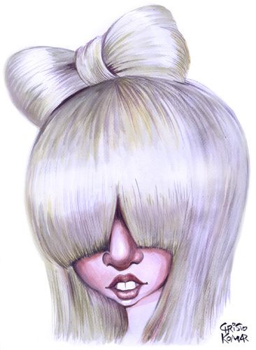 Cartoon: Lady GAGA (medium) by Christo Komarnitski tagged lady,gaga,mtv,award,entertainment,music,caricature
