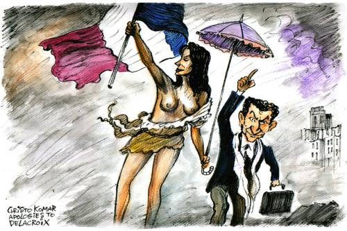 Cartoon: Sarkozy and Carla Bruni (medium) by Christo Komarnitski tagged politics,celebrities,cartoon,france,