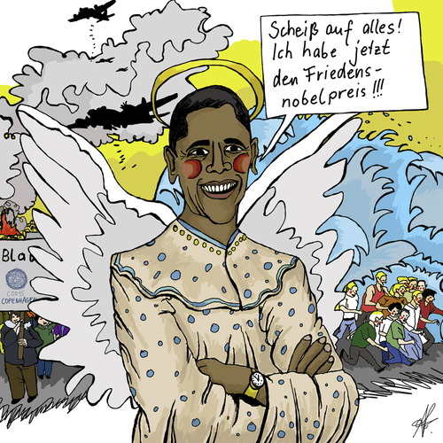 Cartoon: Der Engel namens Obama (medium) by Anitschka tagged obama,krieg,cop15,engel