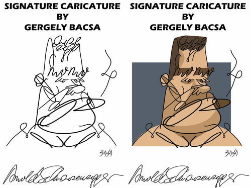 Cartoon: Arnold Schwarzenegger (medium) by bacsa tagged arnold
