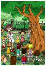 Cartoon: old tree tell a story (small) by bacsa tagged old,tree,tell,story
