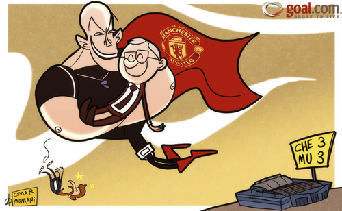 Cartoon: a job for Howard Webb (medium) by omomani tagged boas,chelsea,england,ferguson,howard,webb,manchester,united,portugal,premier,league,scotland,stamford,bridge,villas