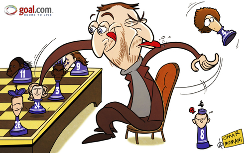 Cartoon: Abramovich adds another pawn to (medium) by omomani tagged abramovich,ashley,cole,brazil,cahill,chelsea,cote,divoire,david,luiz,drogba,england,lampard,premier,league,russia,spain,terry,torres