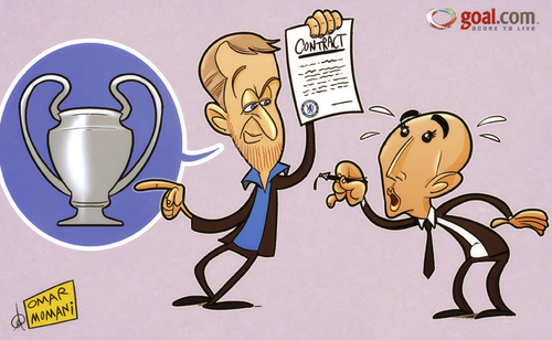Cartoon: Beat Barcelona then well talk (medium) by omomani tagged abramovich,champions,league,chelsea,di,matteo,england,premier