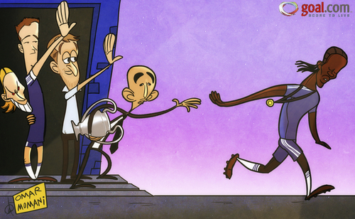 Cartoon: Drogba love story (medium) by omomani tagged torres,terry,john,drogba,matteo,di,chelsea,abramovich