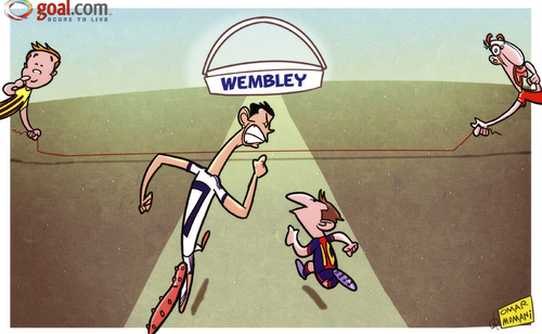 Cartoon: German giants ready to trip up (medium) by omomani tagged barcelona,bayern,munich,champions,league,cristiano,ronaldo,dortmund,gotze,messi,real,madrid,ribery,wembely