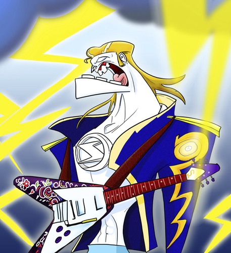Cartoon: God of Thunder and Rock n Roll (medium) by omomani tagged god,of,thunder,rock,roll,elvis,zeus,kiss