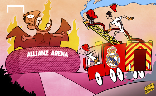 Cartoon: Madrid aim to put out Bayern (medium) by omomani tagged allianz,arena,bayern,munich,champions,league,cristiano,ronaldo,gareth,bale,marcelo,real,madrid,ribery