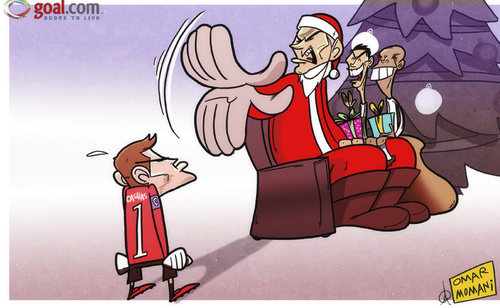 Cartoon: Mourinho leaves Casillas in the (medium) by omomani tagged casillas,christmas,cristiano,ronaldo,mourinho,pepe,real,madrid,santa,claus