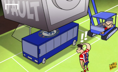 Cartoon: Mourinho parks his bus in Madrid (medium) by omomani tagged atletico,madrid,champions,league,chelsea,diego,costa,mourinho