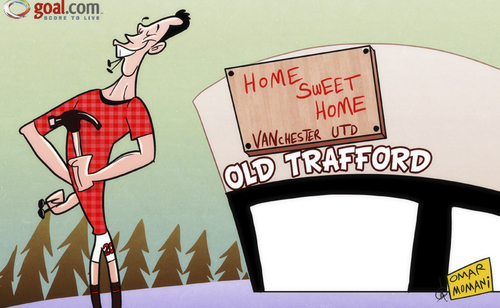 Cartoon: No place like home - RVP settles (medium) by omomani tagged manchester,united,old,trafford,van,persie