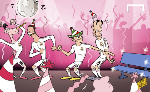 Cartoon: Peas release me Chicharito (medium) by omomani tagged ancelotti,benzema,cristiano,ronaldo,gareth,bale,javier,hernandez,balcazar,chicharito,real,madrid