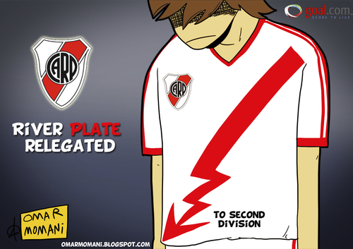 Cartoon: River Plate down (medium) by omomani tagged river,plate,argentina,primera