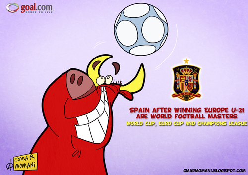 Cartoon: Spain World Masters (medium) by omomani tagged spain,bull,soccer,football