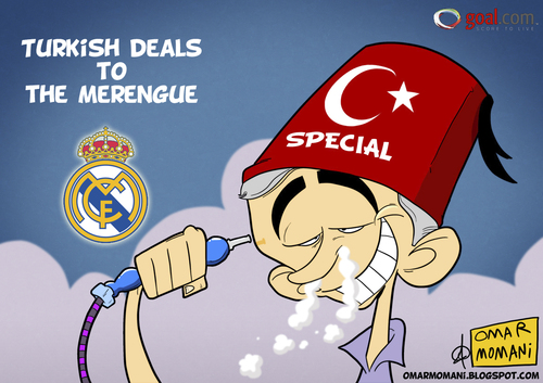 Cartoon: Special Turkish (medium) by omomani tagged mourinho,real,madrid,hookah,spain,portugal,turkey,soccer,football,smoke