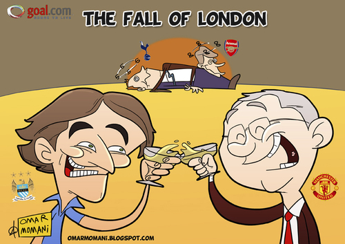Cartoon: The Fall of London (medium) by omomani tagged mancini,ferguson,wenger,redknapp,manchester,city,united,tottenham,arsenal,italy,scotland,france,england,premier,league