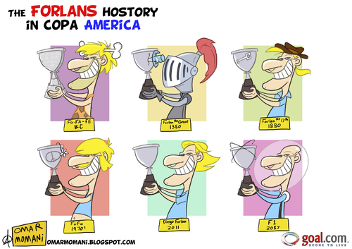 Cartoon: The Forlans and Copa America (medium) by omomani tagged forlan,uruguay,atletico,madrid,spain,copa,america,soccer,football